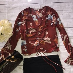 Gypsies and Moondust Maroon Floral Boho Top
